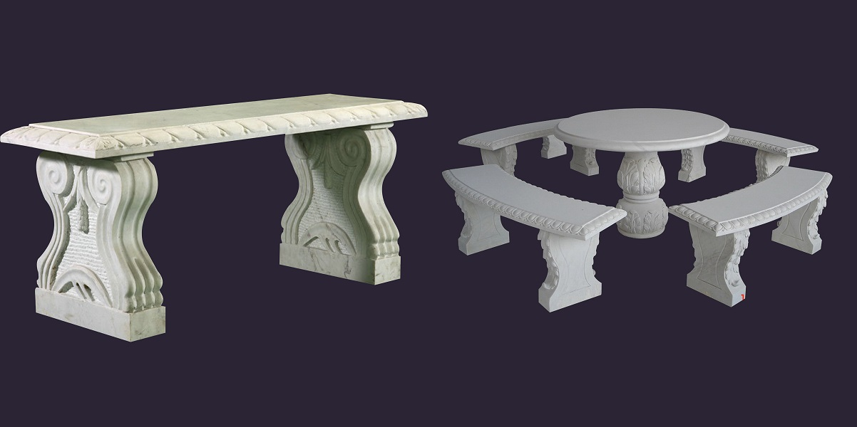Stone bench&table pic